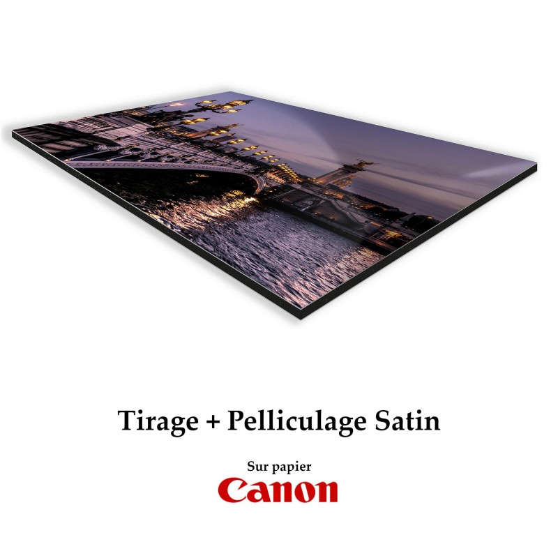 Tirages pelliculés Satin + Contre collage Dibond